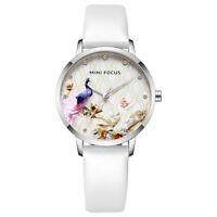 Women's Quartz Leather Wrist Watch Analog Simple Dress Girls Ladies White Band