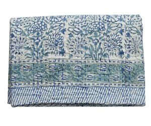 New Hand Block Print Kantha Quilt Indian Blanket Cotton Coverlet Bedding Throw