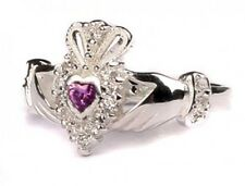 Sterling Silver Irish handcrafted birthstone claddagh ring all sizes available