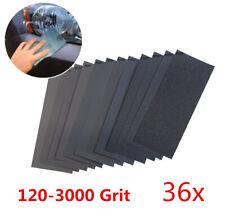 "36x Mixed Dry Wet Sandpaper 120-3000 Grit 9x3.6"" Abrasive Paper Car Sanding Kit"