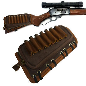 Leather Canvas Rifle Shell Holder, Gun Buttstock Ammo Holder for 30-06,45-70