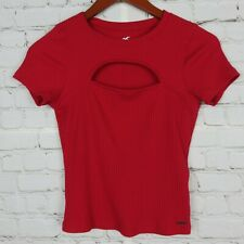 Hollister Juniors Crop Baby T-Shirt Top Short Sleeve Ribbed Red Cutout Front