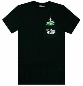 Men's Disney Toy Story Pizza Planet Aliens Movie Black Pocket Shirt Size SMALL