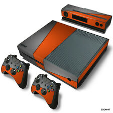 Xbox One Console Skin Decal Sticker Gray & Orange + 2 Controller Skins Set