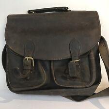 Vintage Robert Cheau Brown Leather Messenger Bag w/ Shoulder Strap Brass Tote