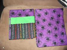 Pair of Halloween Handmade Pillowcases Purple Base with Spiders Multicolor Top