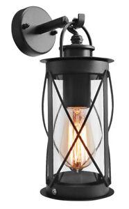 Outdoor Garden Wall Lantern Light Black Metal with Glass Down Wall Lantern ZLC14