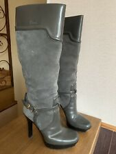 Gucci Boots Knee High Platform Boots Gray Suede Leather Buckle 39,5 US 9,5