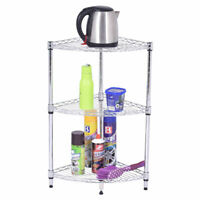 3 Tier Coner Shelf Storage Rack Home Office Bathroom Kitchen Organizer Steel New