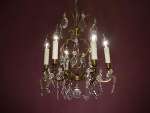 FILIGREE ANTIQUE 6 LIGHT CRYSTAL BRONZE CHANDELIER CEILING LAMP LIVING ROOM