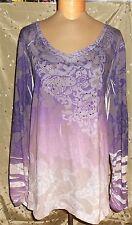 """"""" Fashion Bug """" Pretty Purple Ombre Color Top W/Comfortable Design Size 3X"""