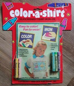 VTG Color-A-Shirt Silkscreened shirt Iron on with Pentel Pastels 90's Cat Friend