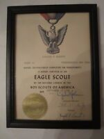 "1967 EAGLE SCOUT CERTIFICATE FRAMED - 7 3/4"" X 5 3/4"" - TUB BBA-7"