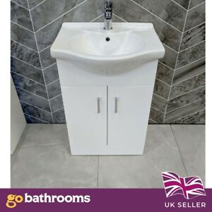 White Bathroom Vanity Unit 550mm UNIT ONLY - Basin sold separately