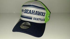 Seattle Seahawks Hat New Era 39Thirty Size S/M Blue Green Distressed Trucker Cap