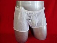 MALE POWER White Stretch Fishnet Nylon/Spandex Boxer Brief Short NEW Size M