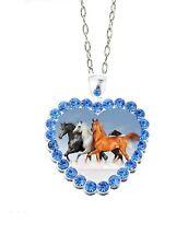 "Blue Rhinestone Heart Three Horses 20"" Chain Glass Cabochon Pendant Necklace"