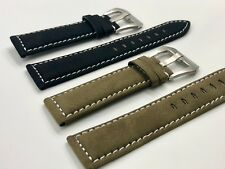 02 Straps (2) Bands 20mm Suede Leather Watch Strap Olive & Black Fast Shipping