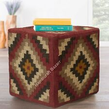 "Indian Vintage Bean Bag Footstools Wool Jute Ottoman Pouf Cover 18"" Home Decor"