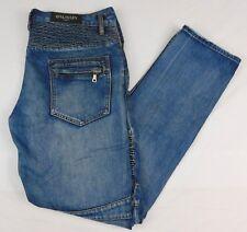 Balmain Paris Blue Denim Jeans Biker W 39 L 36 Distressed Quilted Yoke Wadding