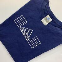 Vintage Mens Adidas Blue T Shirt XL Three Stripe