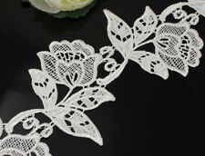 2 Yds Crochet Flower Venise Lace White/Black Applique Trims Sew On Bridal Dress