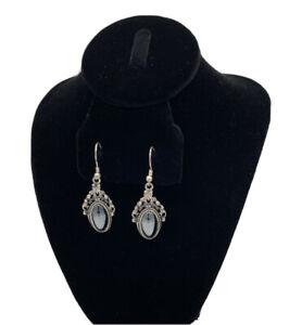 Vintage 925 Sterling Silver Hematite Chandelier Style Filigree Earrings