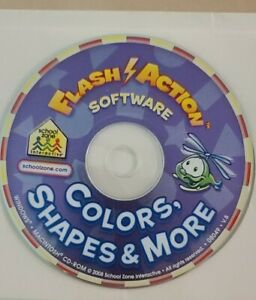 flash action software alphabet, numbers, colors, shapes & more pc cd-rom 2 disks