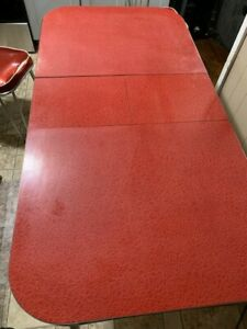 Vintage 1950s Red Chrome Kitchen Table with Four Chairs