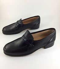 Womens MANSFIELD Shoes Slip On Loafers Black Sz 9M Leather ITALY Heel FREE SHIP