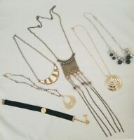 Lot Necklaces Costume Jewelry Vintage and Modern Choker Mesh Gold Silver Bling