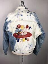 Vintage Warner Bros Looney Tunes Denim Jacket Mens Large Trucker Bugs Bunny Taz