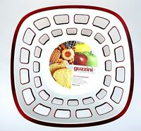 Guzzini Transparent Red Vtg Euro Bread Fruit Cracker Cookie Basket Italy NWT