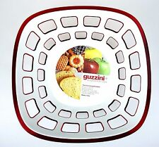 Guzzini Transparent Red Vtg Euro Bread Fruit Cracker Cookie Basket Italy NWT
