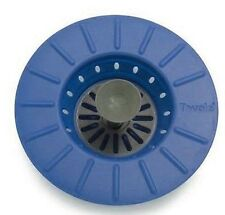 Tovolo Sink Stopper Strainer Drain Plug Blue Silicone Collapsible Easy Storage