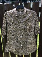 UK Women Summer Floral Cotton Blouse Button Shirt Size S M L XL