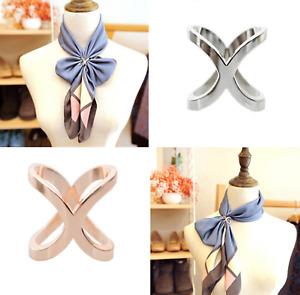 Women Silk Scarf Brooch Ring Scarves Holder Clip