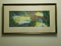 Vintage MCM Mid Century Modern Abstract Tissue Paper Collage Painting Mixed Medi