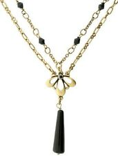 £30 Art Nouveau Gold Black Flower Pendant Necklace Swarovski Elements Crystal