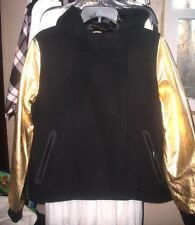 Nike $495 Small Black Wool & Metallic Gold Lamb Leather Hooded Jacket New