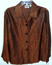 Stylish Chico's Bronze Brown & Black Snakeskin Print Jacket Shirt Size 1 ~ 8-10