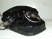 Antique 1940's Art Deco Monophone Telephone Black Bakelite Rotary Dial Phone