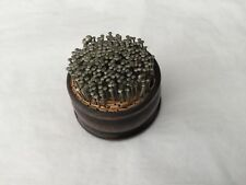 Vintage Puritan Mc-3 brass pyramid pins in wooden pin cushion holder