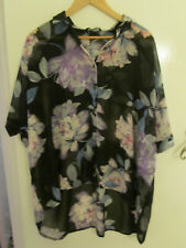 Black Purple & Multicoloured See Through Blouse / Top Size 36 / 38 - mislabelled