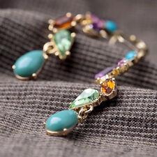 Wunderschön Juwelen lang Ohrhänger Bunt Kristall Smaragd Ohrringe aus Legierung