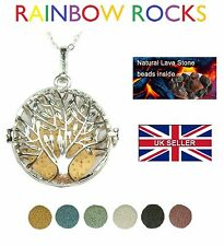 Silver Aromatherapy Large Tree of Life Necklace Locket Diffuser Lava Stone Bola