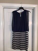 Navy & Silver/Black Dress, Size 8