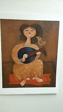 """ Mandolin Player With A Bird ""  Serigraph by Sami  Briss ."