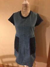 LOUP Patch Two Tone Colorblock Denim Dress Sz Medium (A2)