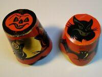 Vintage Halloween 2 Party Hat Candy Containers Owl JOL Bats Black Cat Decoration